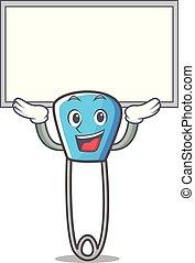 Up board safety pin character cartoon