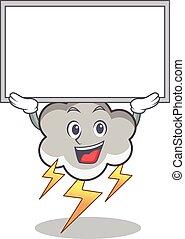 Up board thunder cloud character cartoon