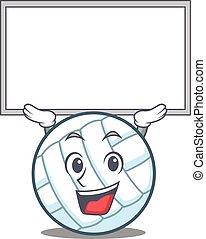 Up board volley ball character cartoon vector illustration