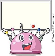 Up board wicker basket on a pincushion cartoon vector...