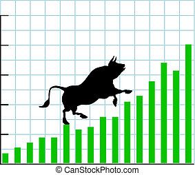Bull climbs up a bullish growth graph of stock market investing profit chart