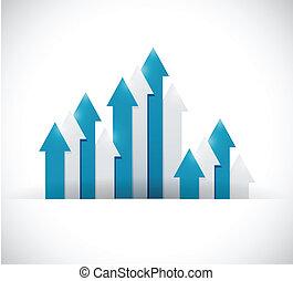 up business arrow graphs illustration design over a white ...