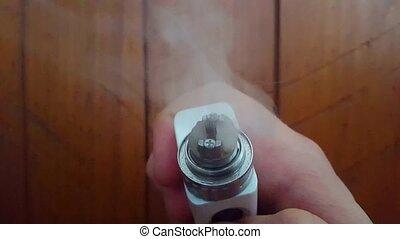 Up-Close Vape Mod Vaporizes E-Liquid/E-Juice. RBA RDA Coil...