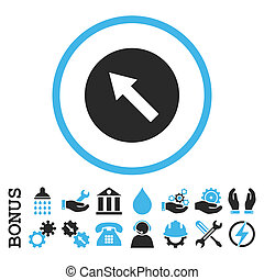 Up-Left Rounded Arrow Flat Rounded Glyph Icon With Bonus -...