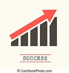 Up Red Arrow Graph. Success Vector Icon.