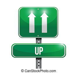 up road sign illustration design