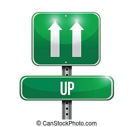 up road sign illustration design
