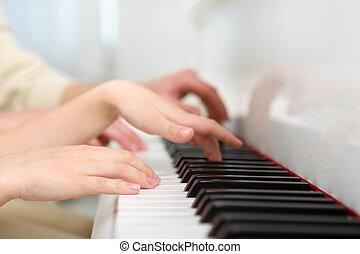 up, ruce, uzavřít, klavír hraní, názor