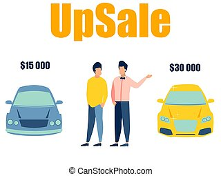 Up sale in the car. The seller sells the car to the buyer. ...