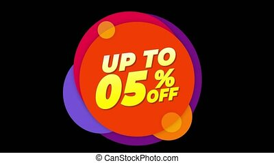Up To 05 % Percent Off Text Flat Sticker Colorful Popup...