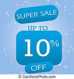 Up To 10% Off Super Sale Offer Banner Design On Blue Winter Theme Background.