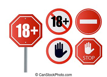 Up to 18 not allowed sign older than 18. Number eighteen in red crossed out circle, polygon