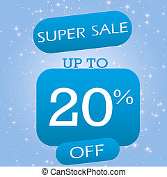 Up To 20% Off Super Sale Offer Banner Design On Blue Winter Theme Background.