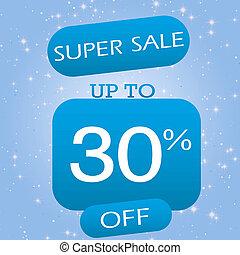 Up To 30% Off Super Sale Offer Banner Design On Blue Winter Theme Background.