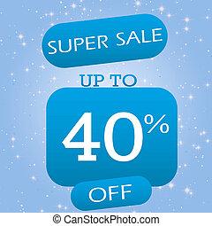 Up To 40% Off Super Sale Offer Banner Design On Blue Winter Theme Background.