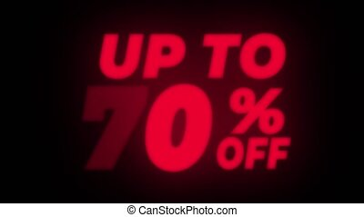 Up To 70 Percent Off Text Blinking Flickering Neon Red Sign Promotional Loop Background. Sale, Discounts, Deals, Special Offers. Green Screen and Alpha Matte