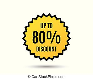 Up to 80% Discount. Sale offer price sign.