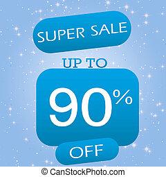 Up To 90% Off Super Sale Offer Banner Design On Blue Winter Theme Background.