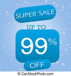 Up To 99% Off Super Sale Offer Banner Design On Blue Winter Theme Background.