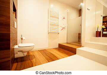 Picture of new up-to-date bathroom in big luxury house