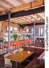 Up-to-date decor of new industrial style restaurant