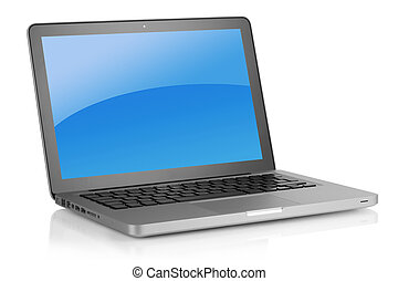 Up-to-date laptop - Laptop with blue background. Isolated on...