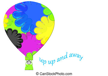 Up Up and Away Balloon Ride isolated on a white background