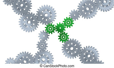 Up View of Several Silver Gears and Four Green