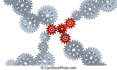 Up View of Several Silver Gears and Four Red