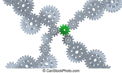 Up View of Several Silver Gears and One Green