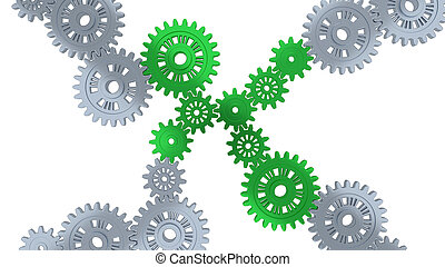 Up View of Some Silver Gears and Eight Green