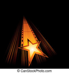Upcoming new movies - Big gold star with film are coming