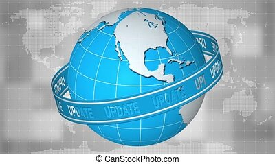 UPDATE banner motion - lettering movement on a ribbon around the rotating earth globe in front of the digital world map background - 3D rendering