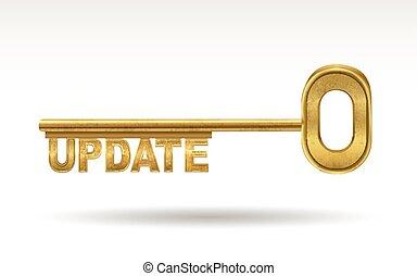 update - golden key isolated on white background