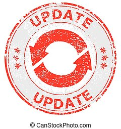 Update grunge rubber stamp on white, vector illustration