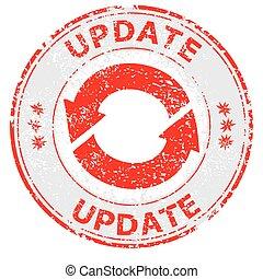 Update grunge rubber stamp on white, vector illustration