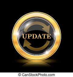 Update icon. Internet button on black background. EPS10...