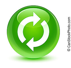 Update icon glassy green round button