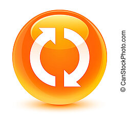 Update icon glassy orange round button