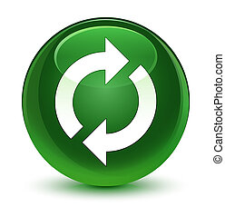 Update icon glassy soft green round button
