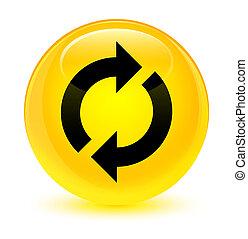 Update icon glassy yellow round button