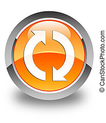Update icon glossy orange round button 2