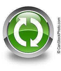 Update icon glossy soft green round button