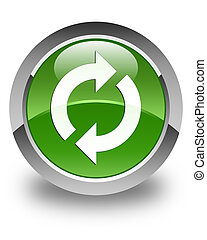 Update icon glossy soft green round button