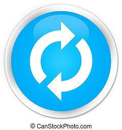 Update icon premium cyan blue round button