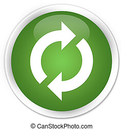 Update icon premium soft green round button