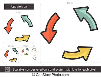 Update line icon. - Update vector line icon isolated on ...