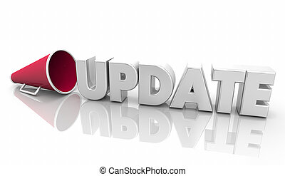 Update News Information Megaphone Bullhorn Word 3d Illustration