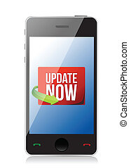 Update now label on a smartphone screen illustration design...