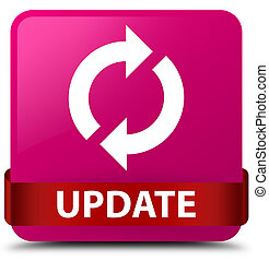 Update pink square button red ribbon in middle
